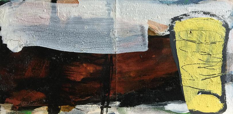 An Honig denken_H5__2019_Mischtechnik auf Holz_20 x 40 cm