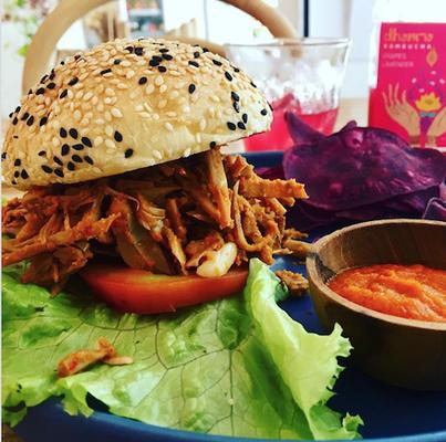 burger at dharma ubud bali indonesia