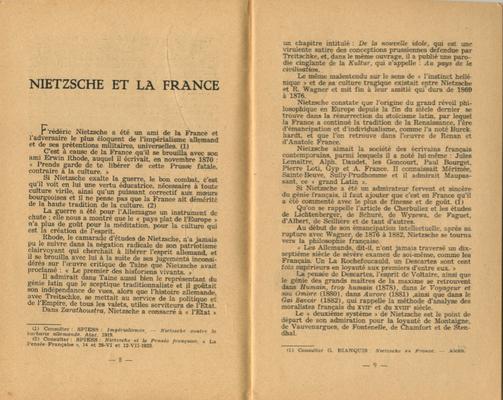 Camille Spiess, Nietzsche et la France