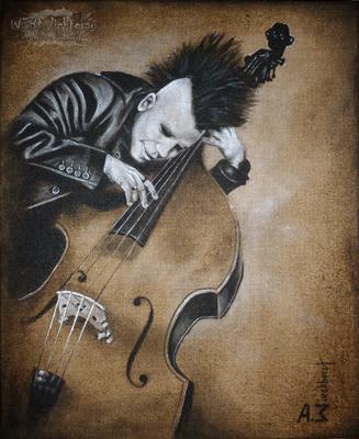 """""""Cello"""", Acryl auf Juteleinwand, 50 x 60 cm, 2017"""