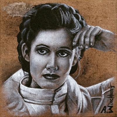 """""""Leia"""", Acryl auf Juteleinwand, 30 x 30 cm, 2016"""