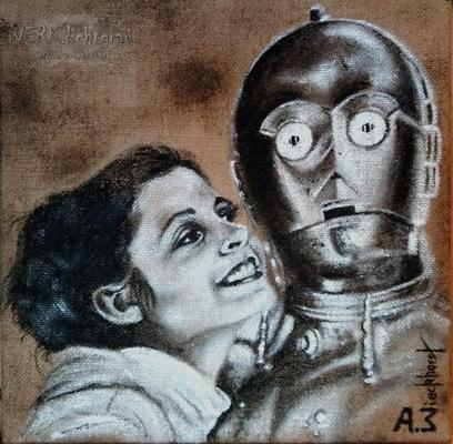 """""""C-3PO II"""", Acryl auf Juteleinwand,  30x30 cm, 2017"""