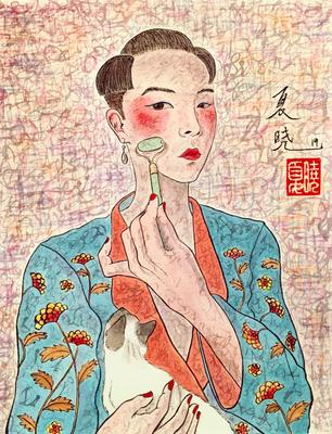 """""""Self-portrait with cat"""", inchiostro e tempera su carta, 31x23 cm"""
