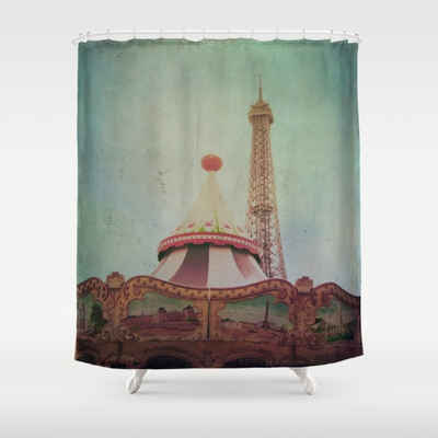 """Bohemia of Paris"" shower curtain. Made from 100% polyester our designer shower curtains are printed in the USA and feature a 12 button-hole top for simple hanging. The easy care material allows for machine wash and dry maintenance."