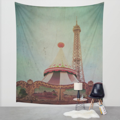 """Bohemia of Paris"" tapestry. Available in three distinct sizes, our Wall Tapestries are made of 100% lightweight polyester with hand-sewn finished edges."