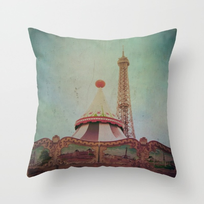 """Bohemis of Paris"" throw pillow. Throw Pillow Cover made from 100% spun polyester poplin fabric, a stylish statement that will liven up any room. Individually cut and sewn by hand."