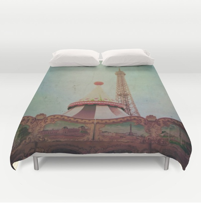 """Bohemia of Paris"" duvet cover. Hand sewn and meticulously crafted, A durable and hidden zipper offers simple assembly for easy care, Available for King, Queen and Full duvets - duvet insert not included. *Queen duvet works for Twin XL beds."