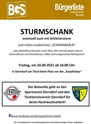 Die Sturmschank der Bürgerliste Großgemeinde Sierndorf dürfen wir euch ans Herz legen! Unsere Nachwuchsarbeit erhält eine Unterstützung daraus!