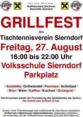 Diesen Freitag findet das Grillfest des TTV Sierndorf am Parkplatz neben der VS Sierndorf statt!