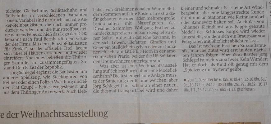 Artikel in der Sächsischen Zeitung-Ausgabe Freital