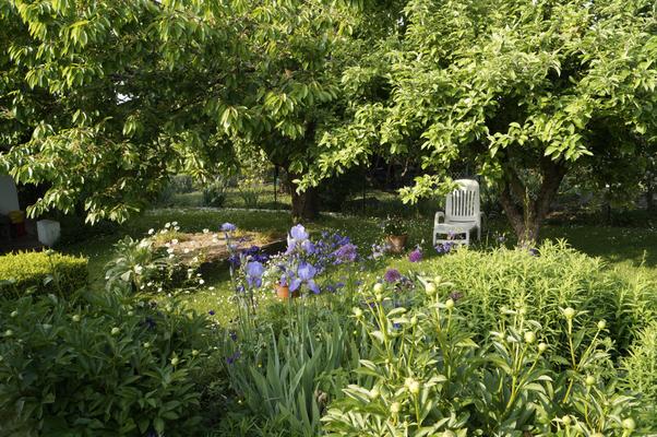 Gartenblick Staudenbeete und Liegestuhl