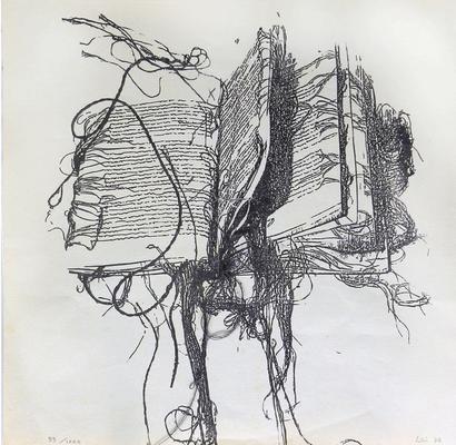037 C Maria Lai 1978 Italia carta xilografia 99/1000 21x22 cm