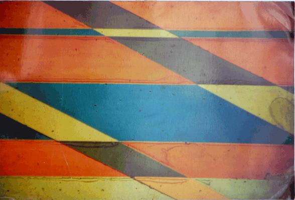 08A serigrafie su lamiera a moduli orizzontali n. 12-13-14-15-4-3-8 (totale 7 opere) che si possono montare allineate rispetto ai loro numeri in senso orrizzontale, Bacino Gianni, 1991,fotografia su lamiera, 70x50 orrizzontale magazzino temp. costante gra