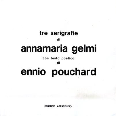 Frontespizio album 031 B Gelmi Anna Maria 1976 Italia carta marchio Areastudio 3 serigrafie 6/50 – 18/50-6/50 70x70