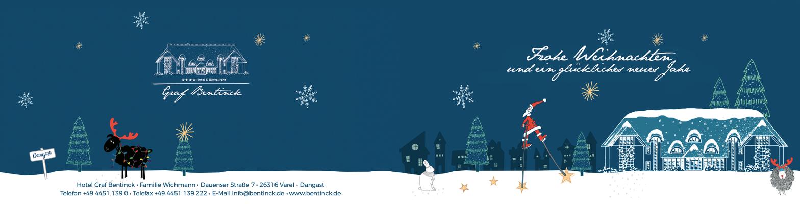 Illustration Kundenkarte Weihnachten für Hotel Graf Bentinck in Dangast