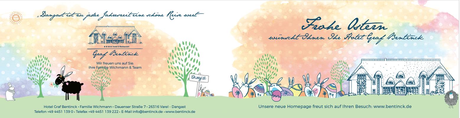 Illustration Kundenkarte Ostern für Hotel Graf Bentinck in Dangast