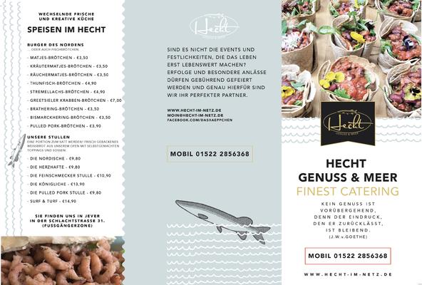 Kunde: Kristin Hecht - Häppchen & Meer | Skills: Idee, Konzept, Grafik, Layout, Illustration Flyer - Vorderseite.