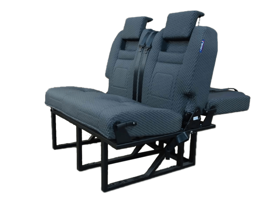 fixed 2 seater solution with integrated seta belts and head rest