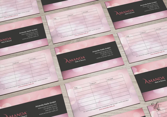 Amanda Nails+Beauty - 2018: Beauty-Visitenkarten / Terminkarten