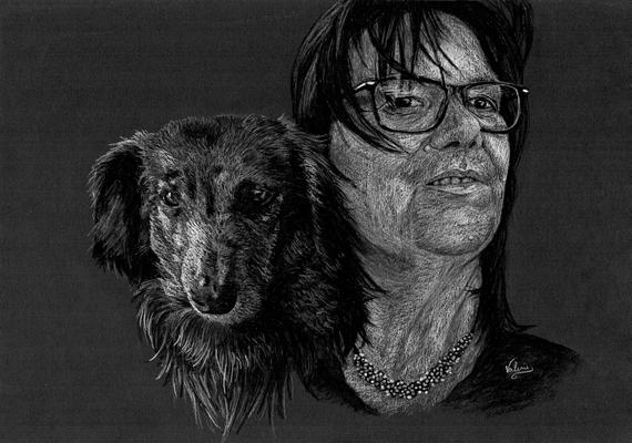 Dierenportret Teckel en baasje: Wit potlood op zwart papier (2021)