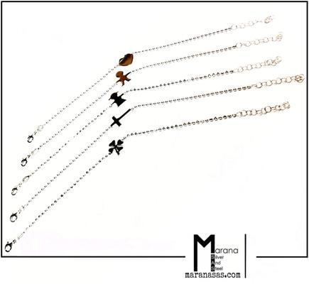 Bracciali minimal con palline e soggetti a tema connettore