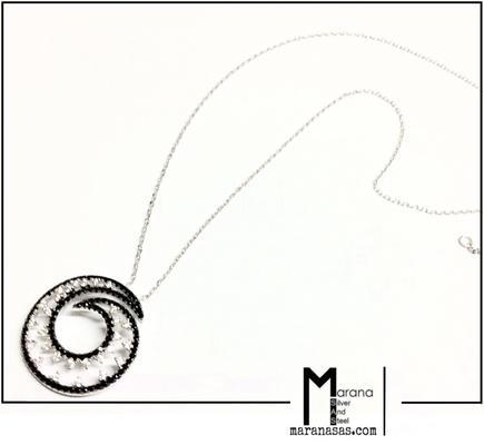 Collana chiocciola zirconi bicolor