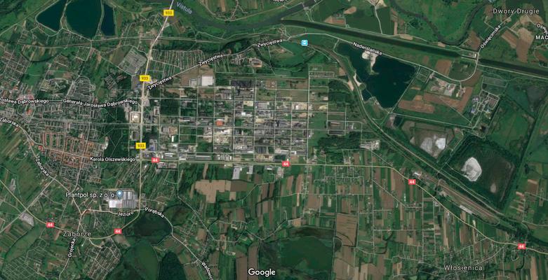 Campos de trabajo que estaban alrededor de la planta de IG Farbenindustrie AG. Plano actual de la zona. Pase a la siguiente imagen.