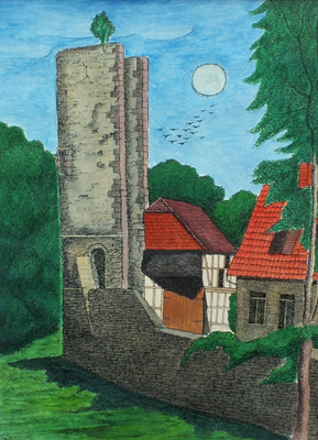 Einbecker Storchenturm  1998  34 x 46 ( Aquarell )