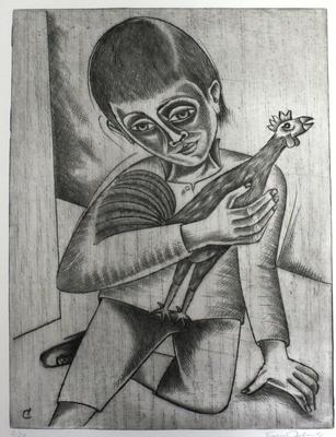 Junge mit Hahn  1982  29,5 x 39        ( 8 )