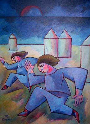 Blaue Läufer am Meer  2005  85 x 115
