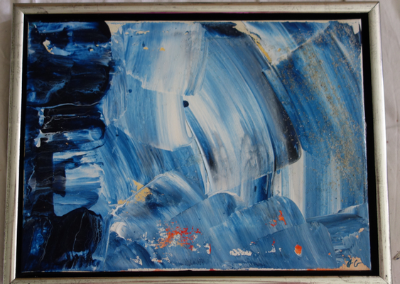 30 x 30 x 4 cm, gerahmt -  Acryl, Silikonöl, Wasser, Fließmedium, Spachtel