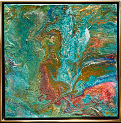 30 x 30 x 4 cm - Schattenfugenrahmen - Acryl, Silikonöl, Wasser, Fließmedium