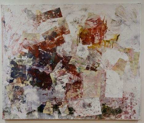 100 x 120 cm - Buchseiten, Tinte, Acrylbinder, Wandfarbe