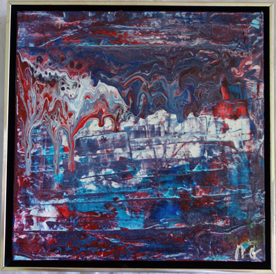 30 x 30 x 4 cm, Schattenfugenrahmen -  Acryl, Silikonöl, Wasser, Fließmedium, gespachtelt