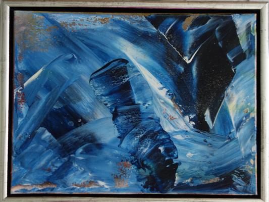 30 x 30 x 4 cm, gerahmt -  Acryl, Silikonöl, Wasser, Fließmedium, gespachtelt