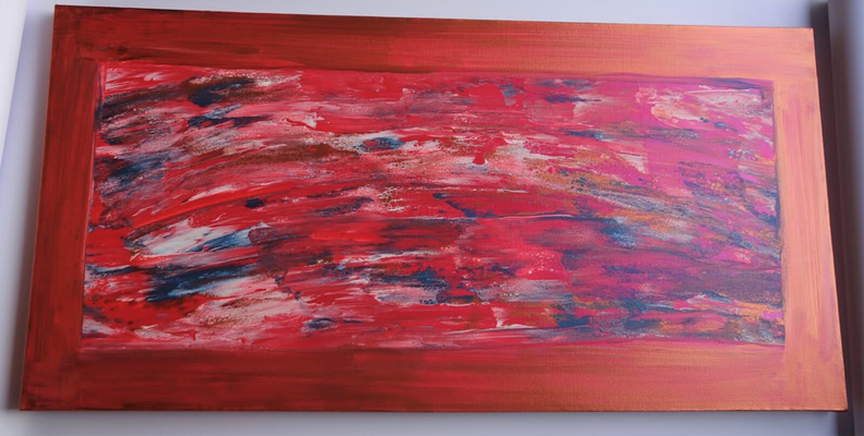 50 x 100 x 4 cm -  Acryl, Silikonöl, Wasser, Fließmedium, Spachtel