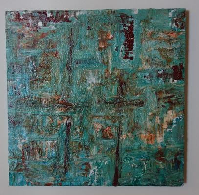 50 x 50 cm - Acryl, Silikonöl, Wasser, Fließmedium auf Holz