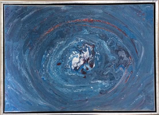 50 x 70 x 2 cm, gerahmt - Acryl, Silikonöl, Wasser, Fließmedium