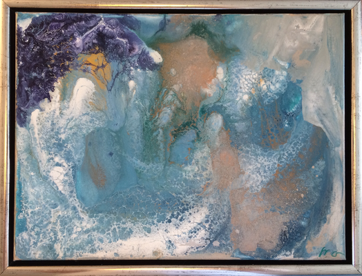 30 x 40 x 2 cm, gerahmt - Acryl, Silikonöl, Wasser, Fließmedium