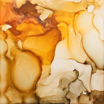 20 x 20 cm - alcohol ink auf Keramik, gerahmt