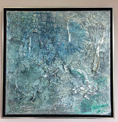 40 x 40 cm x 2 cm, Schattenfugenrahmen - Acryl, Metallicstift - Marmormehl, Acrylbinder, Rügener Kreide, Strukturmaterial