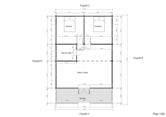Plan chalet en kit 73 m²