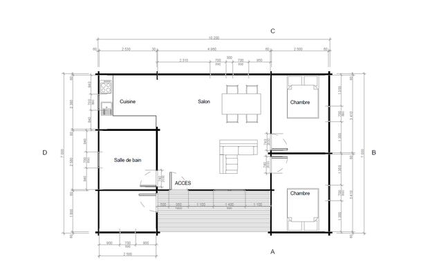 Plan chalet en kit 70 m²