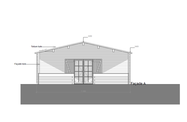 Plan de coupe chalet en kit 73 m²