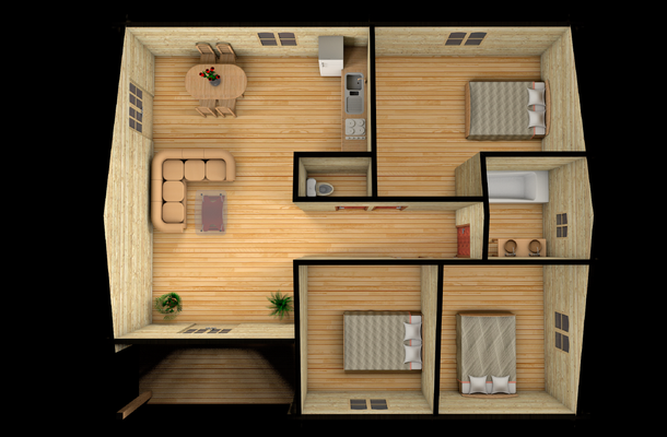 Plan volume chalet en kit 93 m²