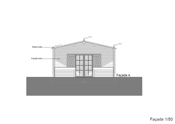 Plan de coupe chalet en kit 53m²