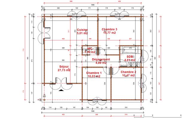 Plan chalet en kit 93m²