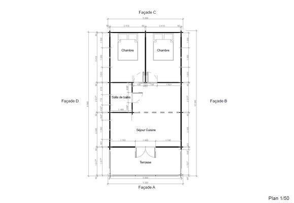 Plan chalet en kit 53m²