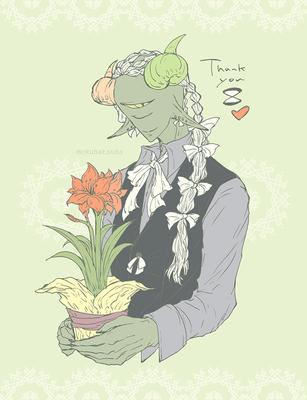 (白のリボンに朱色の花を。) #ふぁぼの数だけリボンを付けたうちの子を描く より 0501