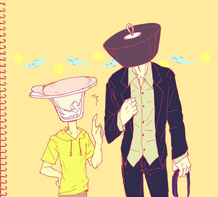 (普段あんまり着ない服。)(中学生みたいなアマミ先生とネクタイの結び方知らないレイゼン)
